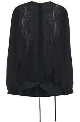 Antonio Berardi Lace-trimmed Poplin-paneled Silk-chiffon Peplum Shirt