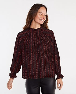 Ann Taylor Dotted Ruffle Mixed Media Pleat Front Top