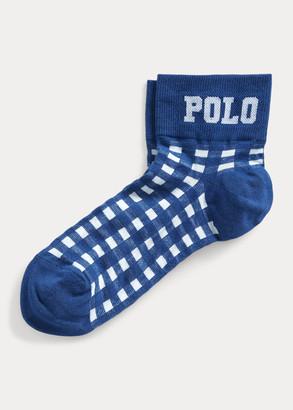 Ralph Lauren Gingham Anklet Socks