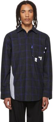 ADER error Navy Wool Check Stain Shirt