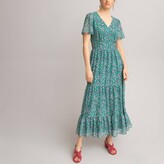 Thumbnail for your product : La Redoute Collections Floral Print Maxi Dress with Short Butterfly Sleeves and Ruffled Tiers