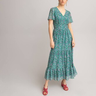 La Redoute Collections Floral Print Maxi Dress with Short Butterfly Sleeves and Ruffled Tiers