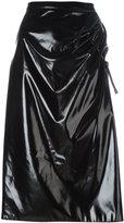 Kenzo ruched vinyl skirt - women - Cotton/Polyester/Polyurethane - 36