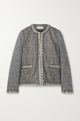 Tory Burch Crystal-embellished Jacquard-knit And Wool-blend Tweed Jacket - Gray