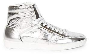 Saint Laurent Men's Metallic Leather High-Top Sneakers
