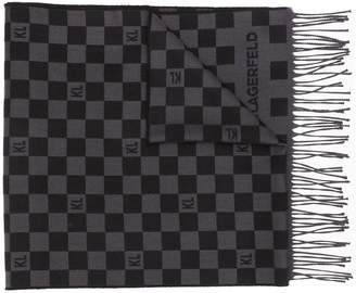 Karl Lagerfeld Paris checkered pattern scarf