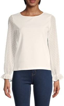 Love...Ady Organza Lace-Sleeve Top