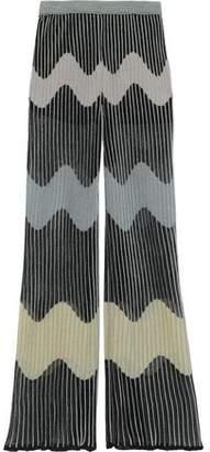 M Missoni Metallic Ribbed Crochet-knit Wide-leg Pants