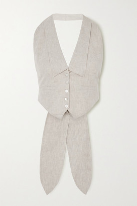 The Line By K Bettina Linen-blend Halterneck Vest - Beige