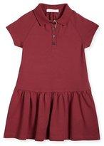 Burberry Cali Smocked Raglan Polo Dress, Peony Rose, Size 4-14