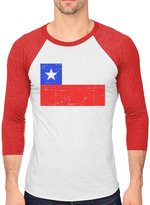 TeeStars Chile Flag Vintage Retro Chilean Flag 3/4 Sleeve Baseball Jersey Shirt red/white