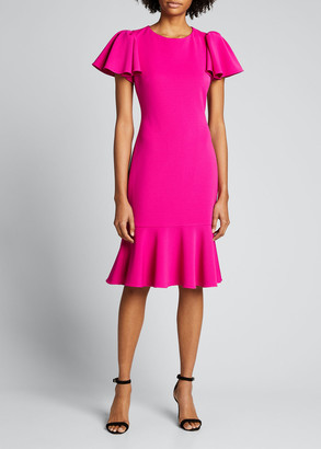 Badgley Mischka Flutter-Sleeve Flounce Hem Scuba Dress