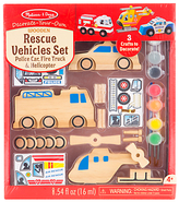 Melissa & Doug Decorate Your Own Wooden Vehicles Rescue Set
