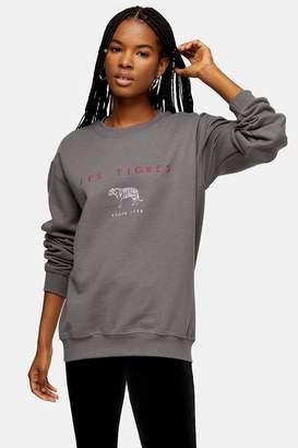 Topshop Womens Charcoal Grey Les Tigres Sweatshirt - Charcoal