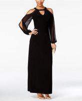 MSK Bishop-Sleeve Cold-Shoulder Gown