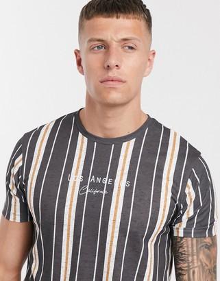 Burton Menswear t-shirt with LA logo in washed black stripe
