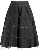 Norma Kamali Frayed Denim Skirt