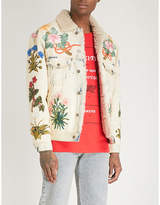 Gucci Embroidered shearling-trimmed denim jacket
