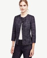 Ann Taylor Petite Crosshatch Tweed Peplum Jacket