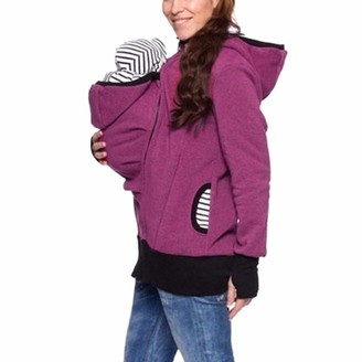 Younthone Women Maternity Striped Baby Pouch Carrier Hoodie Breastfeeding Kangaroo Zipper Pregnancy Coat Jacket Hoodie Childcare Bag Large Size Mother Maternity Dress 8-18 Casual Loose Hot Pink