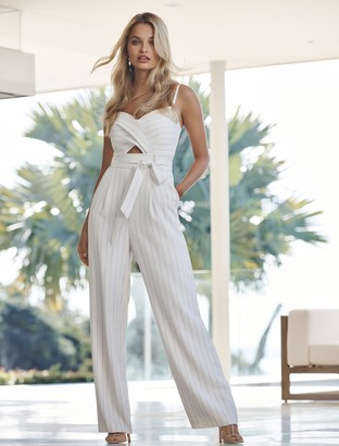 Forever New Ada Twist-Front Jumpsuit - Porcelain/Black Stripe - 4