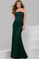 Jovani Striking Straight Neckline Sheath Dress in Ruched Bodice 41750
