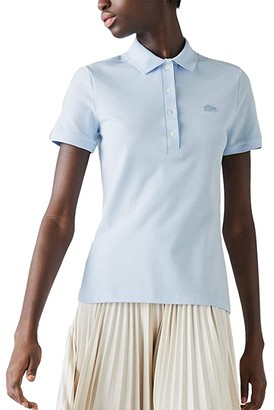 Lacoste Short Sleeve Slim Fit Stretch Pique Polo (Silver Chine) Women's Clothing