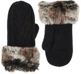 Barneys New York WOMEN'S FAUX-FUR-CUFF CABLE-KNIT MITTENS