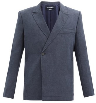 Jacquemus Moulin Double-breasted Wool-blend Canvas Blazer - Navy