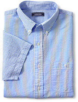 Lands' End Men's Traditional Fit Seersucker Shirt-Blue/Yellow Plaid