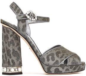 Dolce & Gabbana Embellished Leopard-print Textured-lame Platform Sandals