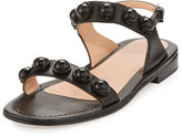 Carven Leather Dome-Studded Sandal, Black