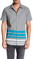 Micros Short Sleeve Printed Stripe Woven Shirt