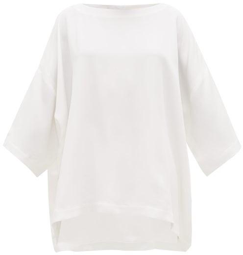 eskandar Bateau-neck Silk Crepe De Chine Tunic Top - White