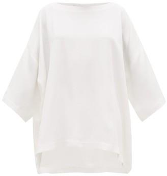 eskandar Bateau-neck Silk Crepe De Chine Tunic Top - Womens - White