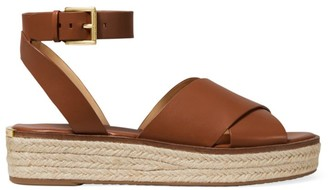 MICHAEL Michael Kors Abbott Leather Jute Platform Ankle Strap Sandals