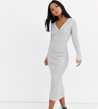 ASOS DESIGN Petite pleat detail knit midi dress with deep v-Grey
