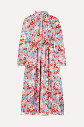 Magda Butrym Viseu Floral-print Silk-jacquard Midi Dress - Sky blue