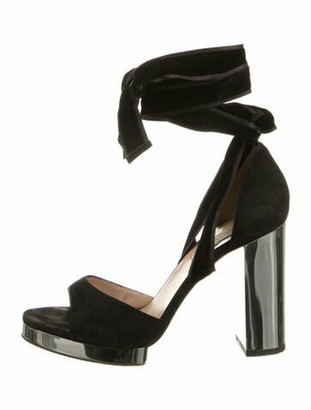 Valentino Suede Wrap-Around Sandals Black