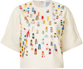 Rosie Assoulin beaded applique T-shirt - women - Cotton - S