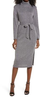 Fraiche by J Mock Neck Long Sleeve Sweater Dress