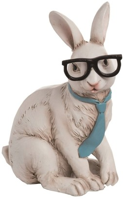 Transpac Resin 10 in. White Easter Hipster Bunny Figurine
