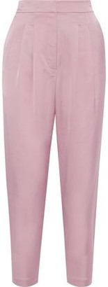 A.L.C. Lennox Cropped Pleated Sateen Tapered Pants