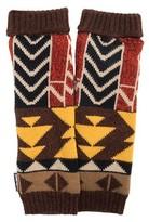 Muk Luks Women's Colorblock Geo Knit Armwarmers - Brown