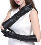 """InlnDtor Elbow Length Long 17"""" Genuine Leather Opera Gloves for Women Lined"""