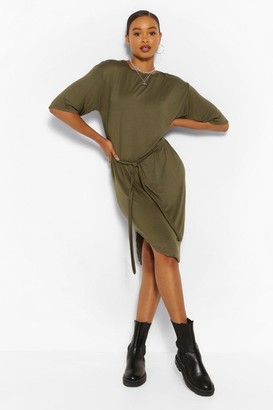 boohoo Belted Curved Hem Midi Dress
