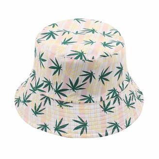 Romacci Bucket Hat Leaves Stripes Pattern Reversible Packable Wide Brim Cap Fisherman Cap Beach Travel Fashion