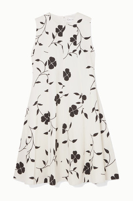 Oscar de la Renta Pleated Floral-print Grain De Poudre Wool-blend Mini Dress - Ivory