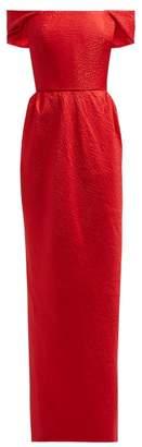 Emilio De La Morena Animal Print Jacquard Off The Shoulder Midi Dress - Womens - Red