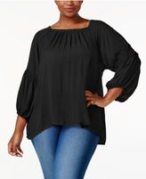 Eyeshadow Trendy Plus Size Pleated Peasant Top